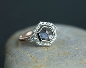 2.15ct Hexagon Rosecut Montana Sapphire Ring in Prong Set Halo with Tapered White Diamond
