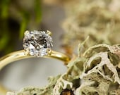 SOLD 1.19ct Sparkling Dark Salt and Pepper Diamond in 18K Classic Solitaire