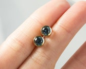 1.61ct Round Montana Sapphire Yellow Gold Bezel Stud Earrings