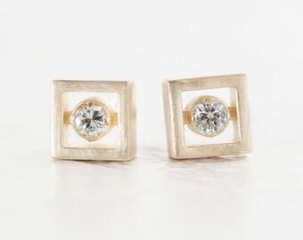 Square Diamond Earrings - Floating Diamond Earrings - Vintage Inspired Earrings - Geometric Diamond Earrings by Anueva Jewelry