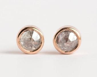 1ct Galaxy grey rosecut diamond earrings in rose gold bezel setting by Anueva Jewelry - Edgy alternative diamond rosecut studs- Customizable