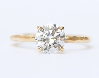 Earth-Friendly Moissanite Engagement Ring - Dainty Natural Hand Carved Minimalist Setting in Recycled Gold by Anueva Jewelry