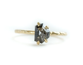 0.98CT Rosecut Black Shield Geometric Galaxy Diamond and Dainty Carved Yellow Gold Low Profile Solitaire- By Anueva Jewelry
