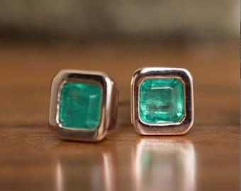 Emerald Bezel Set stud Earrings in Rose Gold- By Anueva Jewelry- Emerald Studs