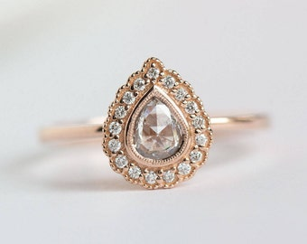 SOLD- Rose Gold Pear Rosecut Diamond Antique Style Engagement Ring - Milgrain scalloped diamond halo with bezel set pear by Anueva Jewelry