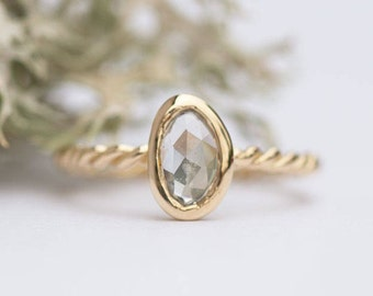 SOLD: Rosecut White Sapphire Rope Twist Ring - Hand carved yellow gold ring in recycled gold -  Unique Engagement Ring by Anueva