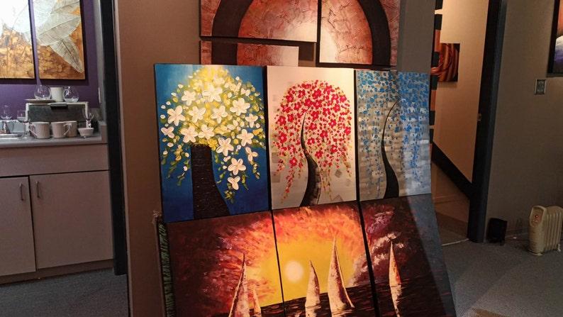 White Red Blue Japanese Flower Blossom Panel Art Triptych Etsy