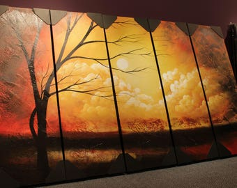Yellow Sandstorm Landscape Canvas Installation Art Large Wall Art Deco Acrylic Painting Yellow Home Wall Decor Panel Painting Panel Wall Art