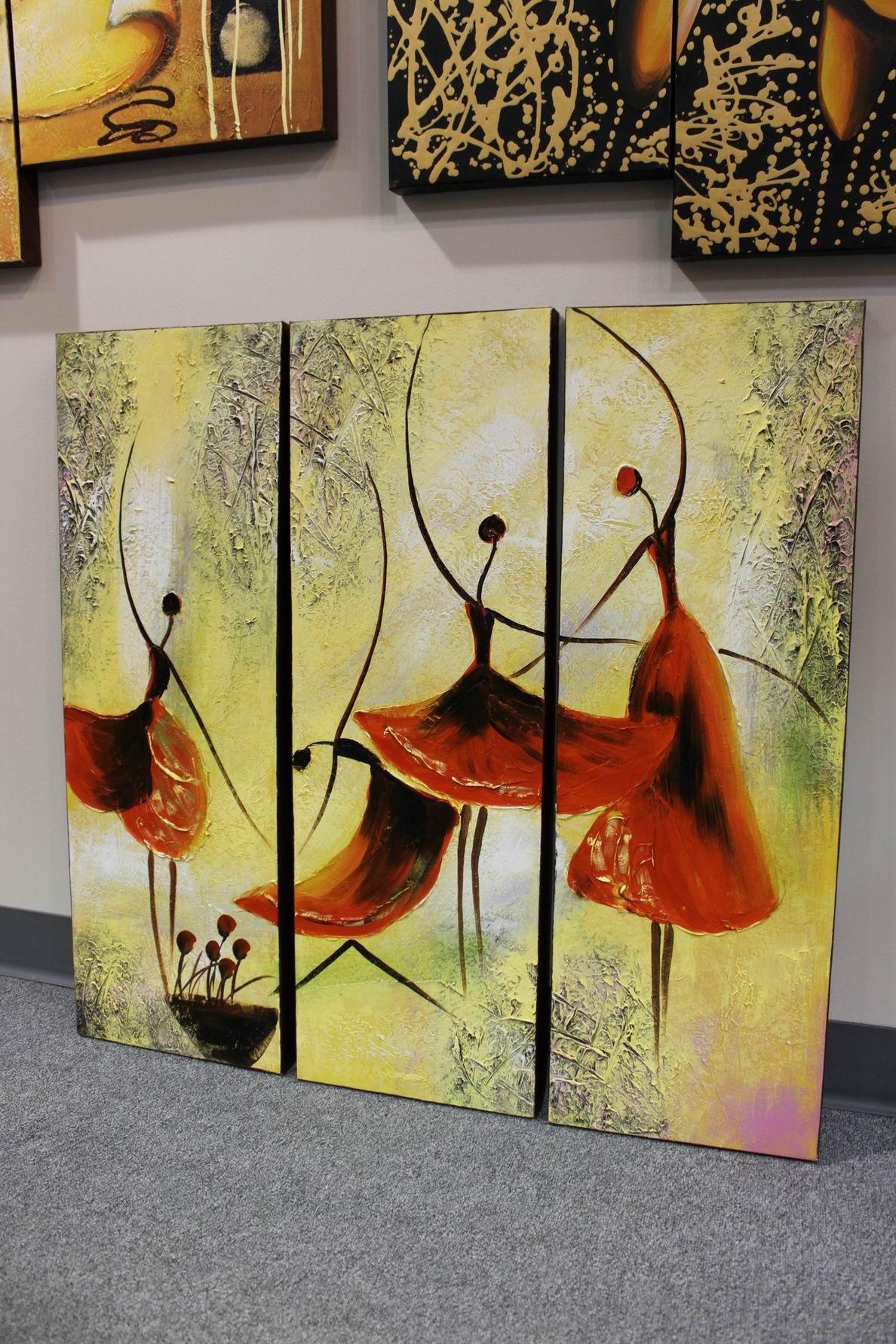 Red Ballerina Ballet Acrylic Painting Yellow Wall Art Decor