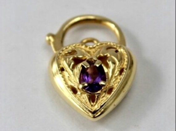 Valentines Amethyst Heart Pendant Necklace,  9K Go