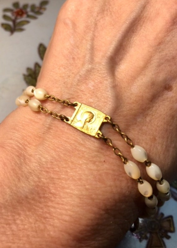 Rosary Beads Bracelet, Mother of Pearl 18K Gold Pl