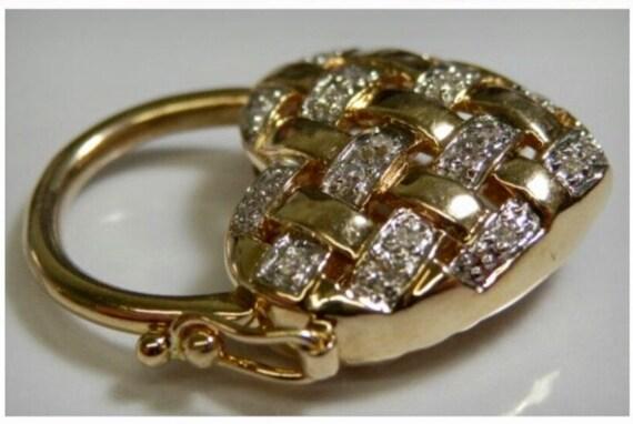 Diamond Heart Pendant, 9K Gold Bracelet Heart Padl