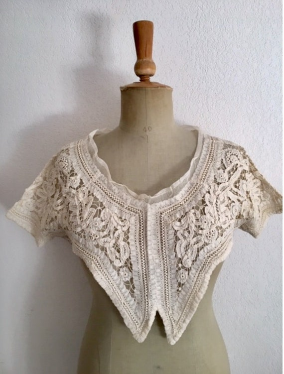Antique French Lace Top, Battenberg Lace Antique T