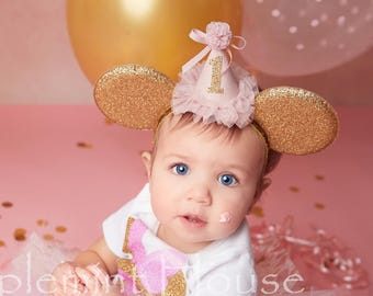 Baby birthday minnie mouse ears, baby minnie ears, birthday ears, Minnie ears, Birthday Minnie ears, mickey ears, pink birthday ears, Disney