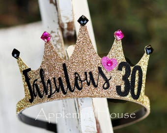 30 Birthday Crown Adult Personalized Gold Black And 40 50