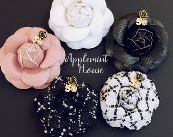 e1881ed42d50 Coco No.5 Brooch, Camellia Brooch, Camellia flower Brooch, Camellia Hair  clip, Tweed Brooch, Wedding brooch, Tweed Hair clip, luxury broche