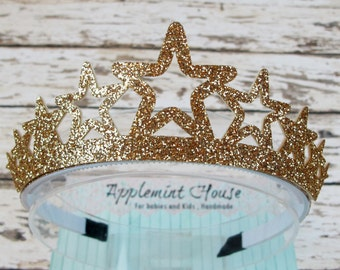 Star Shape Birthday Girl Crown/Princess glitter crown/Tiara crown/Party crown for baby to kids-Gold