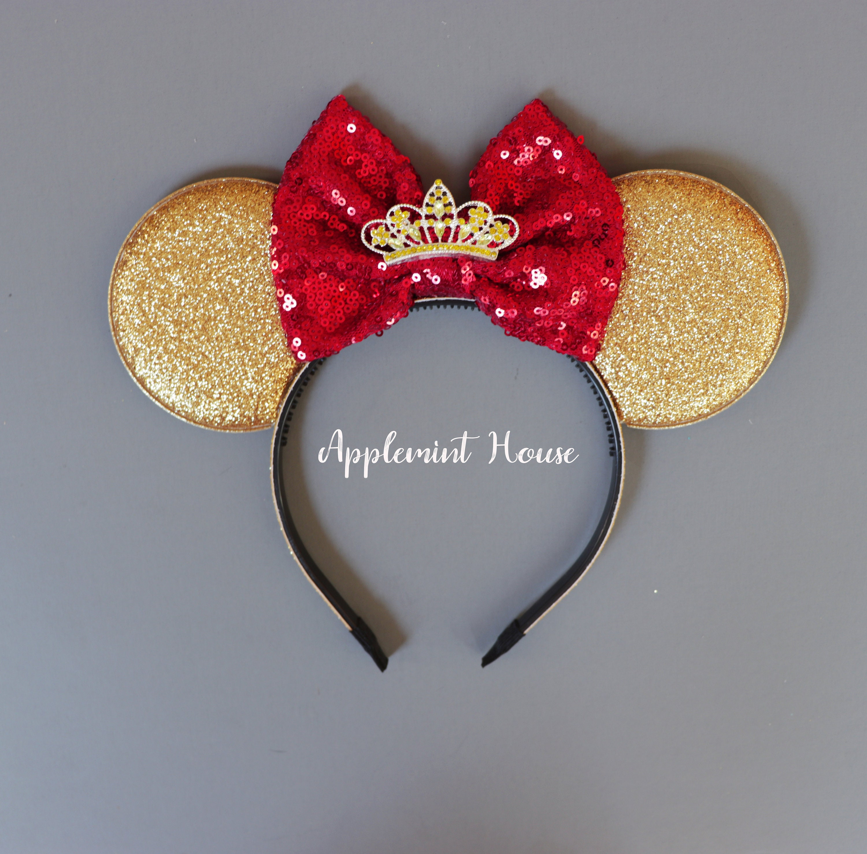 Minnie Mouse Ears Headband Sequins Beauty /& The Beast Hair  Accessories Belle