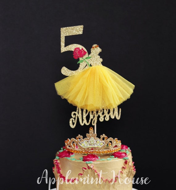 Miraculous Sale Beauty And The Beast Birthday Cake Topper Princess Etsy Personalised Birthday Cards Paralily Jamesorg