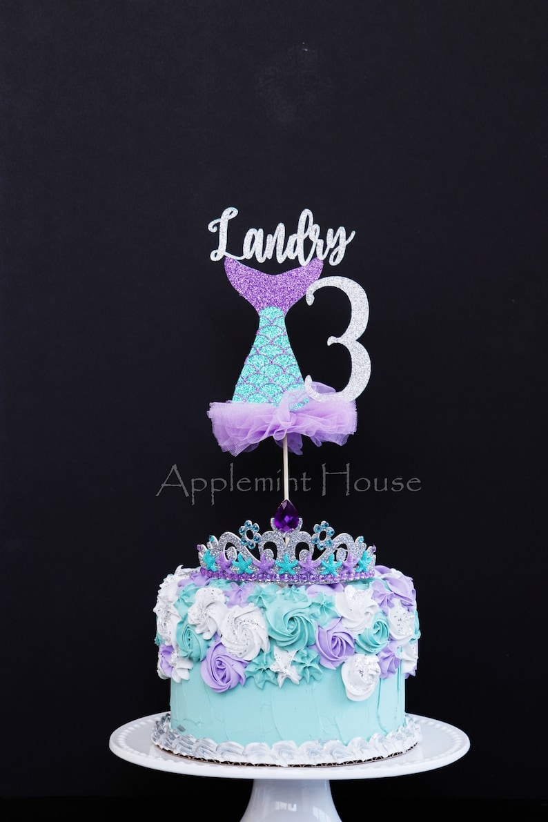 Mermaid Birthday Cake topper, First Birthday Mermaid, Mermaid cake topper,  Mermaid theme princess cake topper, Mermaid Tail Cake Topper