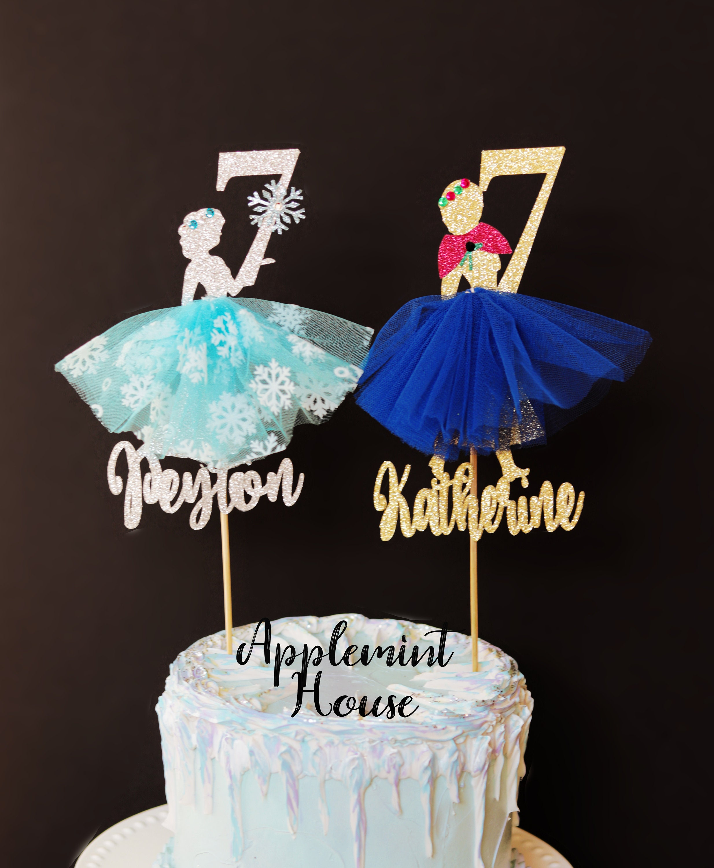 Awesome Elsa Anna Cake Topper Frozen Elsa Birthday Cake Topper Anna Funny Birthday Cards Online Elaedamsfinfo