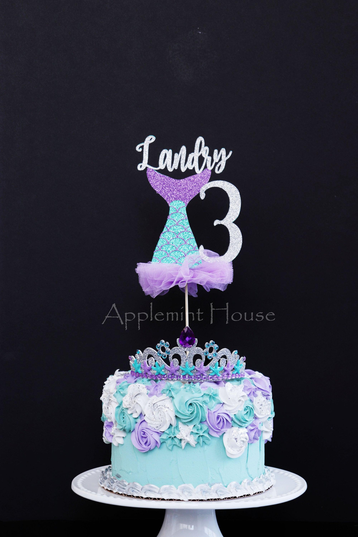 Fine Mermaid Birthday Cake Topper First Birthday Mermaid Mermaid Personalised Birthday Cards Veneteletsinfo