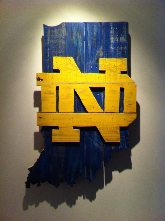 Wooden State Of Indiana With Notre Dame Logo Etsy