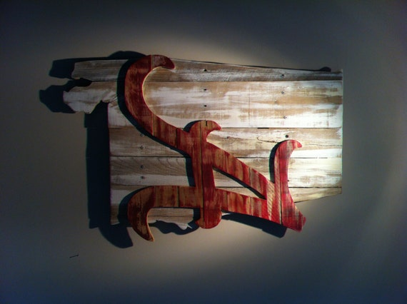 Wooden State Of Alabama With Crimson Tide Logo Etsy