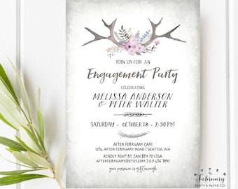 Rustic Engagement Party Invitations Invite Hunting Engagement Invitation Antlers Invitation  Printable or Printed No.770