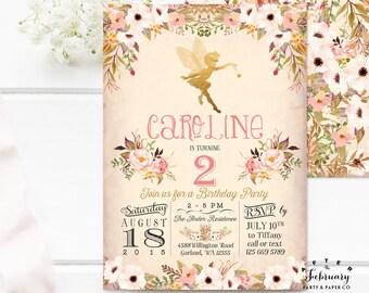 Fairy Birthday Invitation Fairy Birthday Party Invitation Printable Girl Birthday Party Invitation Floral Printable OR Printed No.986 KIDS