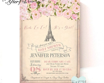 Paris Baby Shower Invitation // Paris Eiffel Towel Invitation // Typography // Printed OR Printable No.723BABY