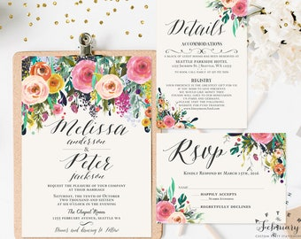 Floral Wedding Invitation Printable Watercolor Wedding Invitation Kit (Printing Service Sold Separately) No.1811WEDDING