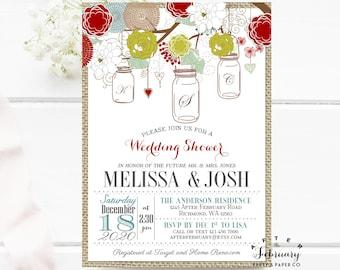 Christmas Mason Jar Wedding Shower Invitation  Vintage Burlap Holiday Wedding Shower Couple Shower Invites -  Printable No.534WEDDING