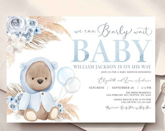 EDITABLE Blue Boho Bear Baby Shower Invitation Boy Teddy Bear We Can Bearly Wait Invite Printable Template Instant Download 400V1 (3)