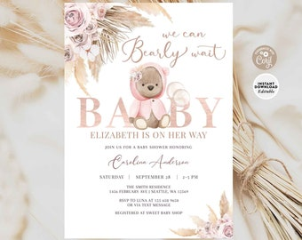 EDITABLE Boho Bear Baby Shower Invitation Girl Pampas Grass We Can Bearly Wait Invite Printable Template Instant Download 400V2 (2)