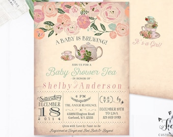 Baby Shower Tea Party Invitation Girl A Baby is Brewing Invitation Floral Baby Girl Shower Invitation Girl Printable No.734BABY