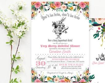 Vintage mad hatter bridal shower invitation printable queen etsy mad hatter tea party invitations mad hatter bridal shower invitation watercolor floral invitation printable no439bride filmwisefo