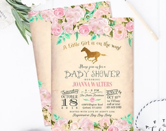 Horse baby shower etsy horse baby shower invitation pink and gold baby shower invitation horseback riding baby shower invite printable or printed no462baby filmwisefo