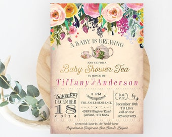 A Baby is Brewing Invitation. Floral Baby Shower Tea Party Invitation. Garden Tea Party High Tea Invites // Printable or Printed No.567BABY