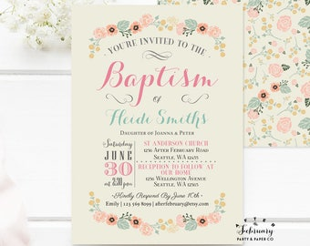 Floral Baptism Invitation Girl Floral Christening Invitation Naming Day 1st Holy Communion Invitation Printable OR Printed No.936BAPTISM