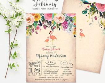 Flamingo Baby Shower Invitations // Flamingo Party // Flamingo Invitation Tropical Baby Shower Invitation Girl Printable No.94BABY