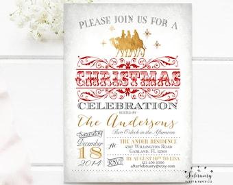 three wise men christmas invitation vintage christmas party invitation red and gold christmas holiday invite printable no570xmas