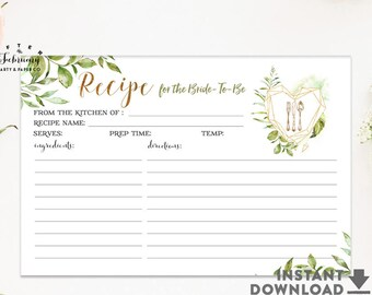 Bridal Shower Recipe Cards Printable, Greenery Bridal Recipe Card for the Bride To Be Printable No.1540BRIDE