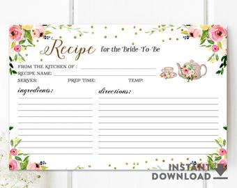 Bridal Shower Recipe Cards Printable, Pink and Gold Confetti Floral Bridal Recipe Card for the Bride To Be Printable No.878BRIDE