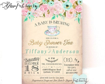 Tea party baby shower invitation etsy pink mint gold baby shower tea party invitation a baby is brewing floral tea party baby shower invitation printable or printed no1420baby filmwisefo