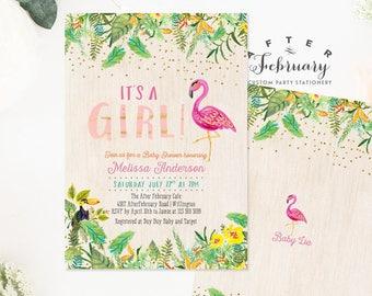 Flamingo Baby Shower Invitations Girl Flamingo Baby Shower Invites Girl Tropical Baby Shower Invite Printable OR Printed No.420GIRL