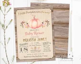 Pink And Gold Pumpkin Baby Shower Invitation Rustic Fall Invite Little On The Way Printable OR Printed No1312BABY