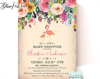 Flamingo Baby Shower Invitation // Flamingo Party Invitation Invite // Tropical Baby Girl Shower Invite  // Printable OR Printed No.320BABY