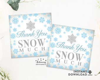 Light Blue Thank You Snow Much Tag, 2x2 Square Tag, Winter Wonderland Onederland Birthday Tags (Instant Download) Printable No.556BLUE