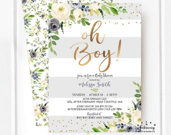 Baby Boy Shower Invitation Etsy